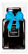 Chanel Perfume With Blue Ribble Beach Towel