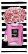 Chanel Poster Pink Perfume Hydrangea Print Beach Towel