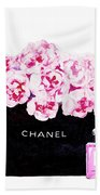 Chanel With Flowers Beach Towel