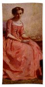 Chaplin Charles Girl In A Pink Dress Reading With A Dog Beach Towel