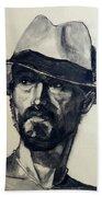 Charcoal Portrait Of A Man Wearing A Summer Hat Beach Sheet