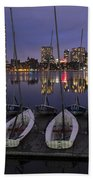 Charles River Boats Clear Water Reflection Beach Towel