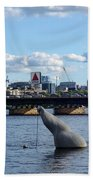 Charles River Boston Ma Crossing The Charles Citgo Sign Mass Ave Bridge Beach Towel