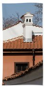 Charming Chimneys - White Stucco And Terracotta Juxtaposition Beach Towel