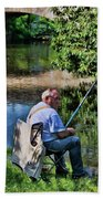 Chartres, France, A Good Day Fishing Beach Towel