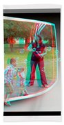 Chasing Bubbles - Use Red-cyan 3d Glasses Beach Towel