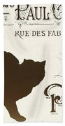 Chat Noir Paris Beach Towel