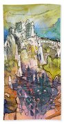 Chateau Cathare De Puylaurens 01 - France Beach Towel
