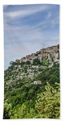 Chateau D'eze On The Road To Monaco Beach Sheet by Allen Sheffield