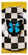 Checker Plate And Blue Butterfly Beach Towel