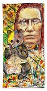 Cherokee Chief With Friend Mr.p Beach Towel