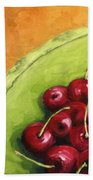 Cherries Green Plate Beach Towel