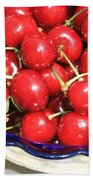 Cherries In A Bowl Close-up Beach Towel