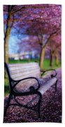 Cherry Blossom Bench Beach Towel