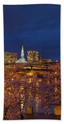 Cherry Blossom Trees At Portland Waterfront During Blue Hour Beach Towel