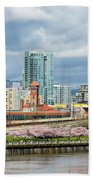 Cherry Blossom Trees At Portland Waterfront Park Beach Towel