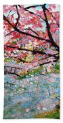 Cherry Blossoms And Bridge 3 201730 Beach Sheet