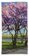 Cherry Blossoms, Central Park Beach Sheet