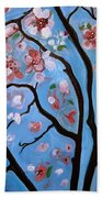 Cherry Blossoms In Bloom Beach Sheet