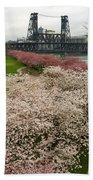 Cherry Blossoms Trees Along Portland Waterfront Beach Towel