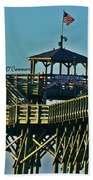 Cherry Grove Pier - Closeup End Of Pier Beach Towel