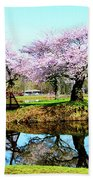 Cherry Trees In The Park Beach Towel