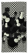 Chessboard And 3d Chess Pieces Composition Beach Towel