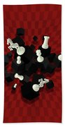 Chessboard And 3d Chess Pieces Composition On Red Beach Towel