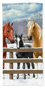Chestnut Appaloosa Palomino Pinto Black Foal Horses In Snow Beach Towel by Crista Forest