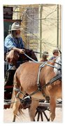 Chestnut Horses Pulling Carriage Beach Towel