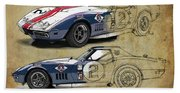 Chevrolet Corvette Convertible L88 1968,original Fast Race Car. Two Drawings, One Print Beach Sheet