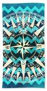 Chevron Print Compass Blue Beach Towel