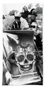 Chevy Decor Day Of Dead Bw Beach Towel