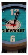 Chevy Neon Clock Beach Towel