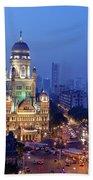Chhatrapati Shivaji Terminus V.t. And Municipality Head Office In Mumbai. Beach Towel