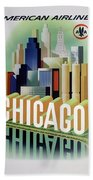 Chicago American Airlines 1950 Beach Towel