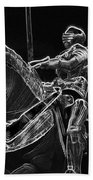 Chicago Art Institute Armored Knight And Horse Bw Pa 02 Beach Towel