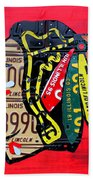 Chicago Blackhawks Hockey Team Vintage Logo Made From Old Recycled Illinois License Plates Red Beach Towel