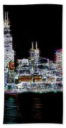 Chicago By Night Beach Towel