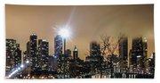 Chicago City At Night Beach Towel