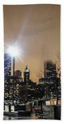 Chicago City At Night Beach Towel