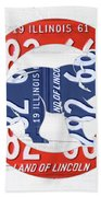 Chicago Cubs Retro Vintage Baseball Logo License Plate Art Beach Towel