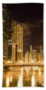 Chicago Downtown City  Night Photography Beach Towel