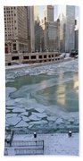 Chicago Downtown City  Night Photography Wrigley Square Beach Towel