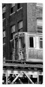 Chicago El And Warehouse Black And White Beach Towel