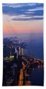 Chicago Gold Coast Night Beach Towel by Kyle Hanson