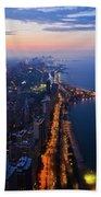 Chicago Gold Coast Night Portrait Beach Towel by Kyle Hanson