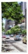 Chicago Hailing A Cab In June Beach Towel