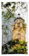 Chicago Historic Water Tower Fog Beach Towel