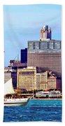 Chicago Il - Schooner Against Chicago Skyline Beach Towel